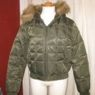 Down Feather Green Bomber Jacket Hoodie Ski Jacket Parka Coat Size M