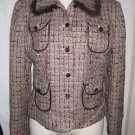 Tapemeasure Pink Brown Tweed Fitted Cropped Jacket Blazer Sz 6 NWT