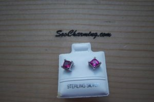 NEW 925 Sterling Silver Baby Infant Childs JULY Birthstone Earrings Ruby