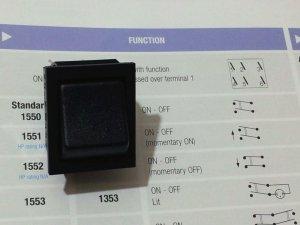 Arcolectric Rocker Switch, DPST, Black w/o I/O (Lot of 5 pcs)