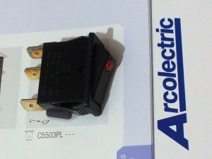 Arcolectric Lit Rocker Switch Single Pole 12A 250Vac T125 (Lot of 5 pcs)