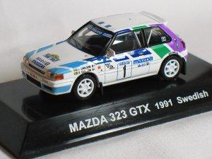 Mazda 323 GTX 1991 Swedishs #1 1/64 die cast model car