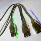 USB 2.0  Y Cable 2 Males to Female  For External Computer Devices  (MtoM=29cm, MtoF=59cm)