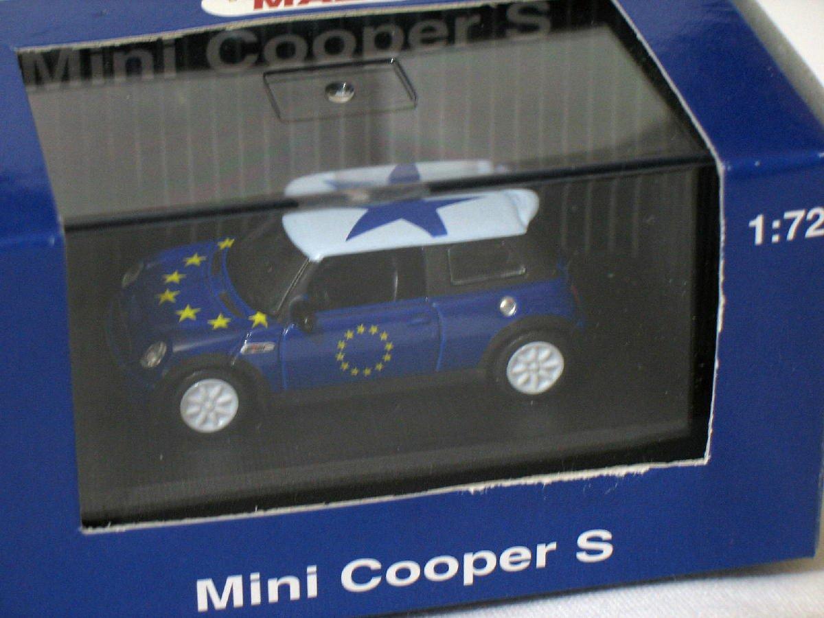 Mini Cooper S White/Blue 1/72 Die Cast Model Car