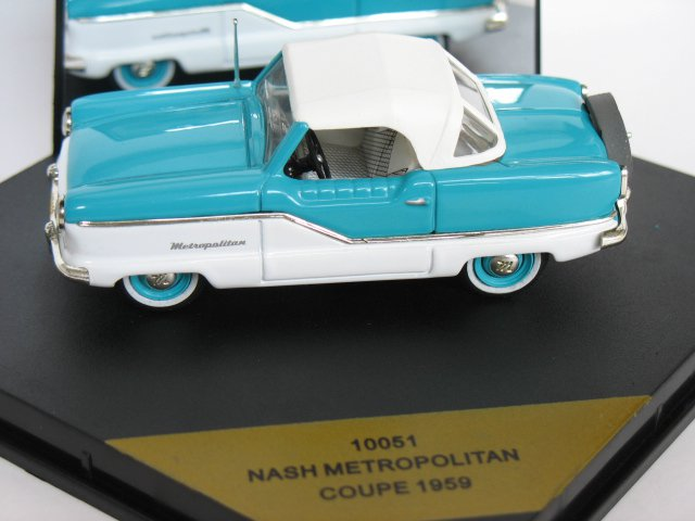 Nash Metropolitan Coupe 1959 Blue White Die Cast Model Car (Rare)