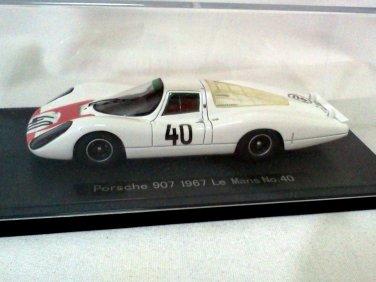 Porsche 907 1967 Le Mans #40 White/Red 1/43 Resin Model Car