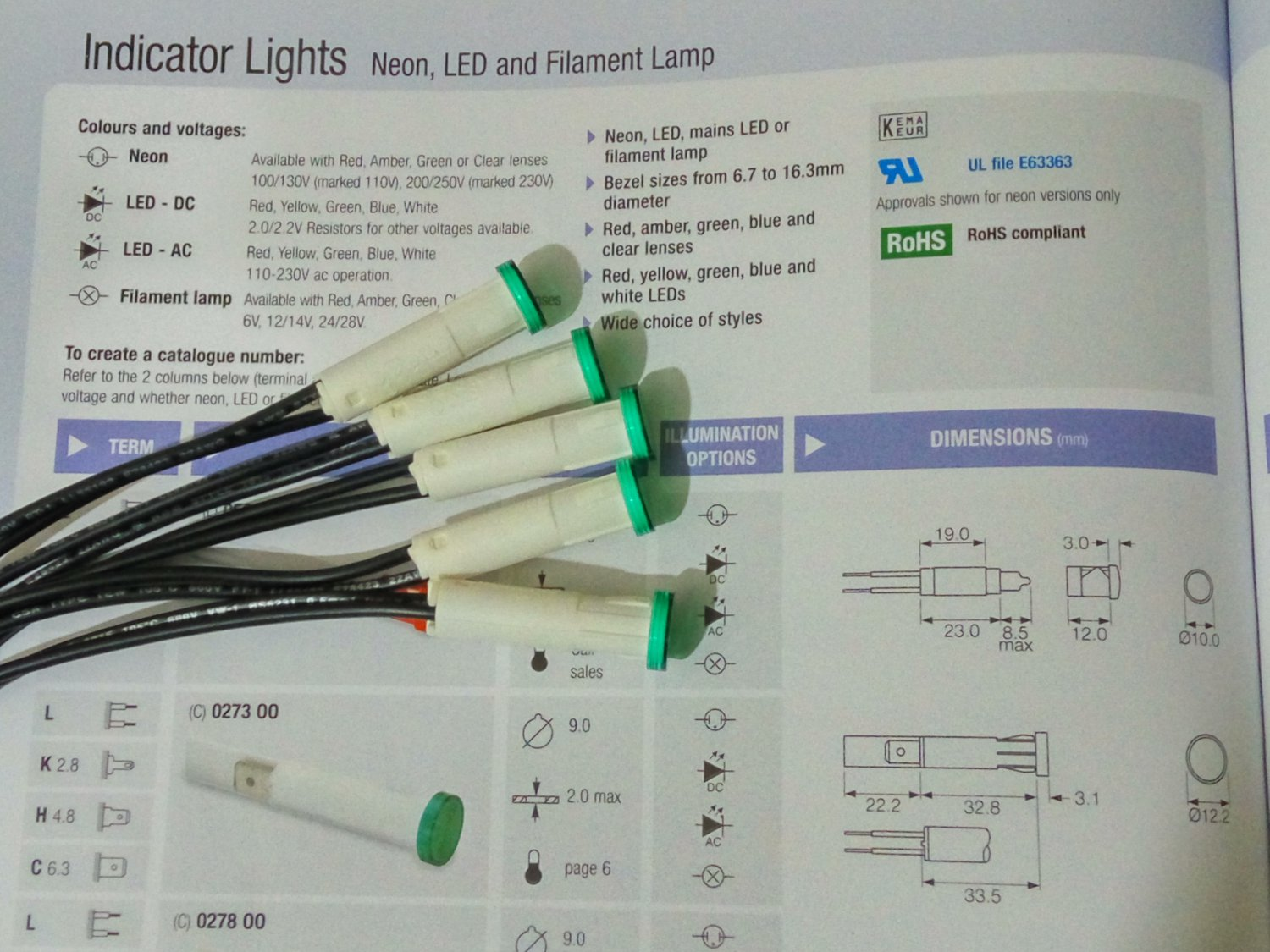 Led Indicator Lights Green 230V (5 pcs per lot)