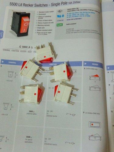 Arcolectric Lit Rocker Switch Single Pole 16A 250Vac (White/Red) (Lot of 5 pcs)