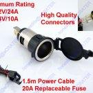 1.5m 12V 20A Car 24V 10A Fuse Cigarette Lighter Socket Power Outlet Replacement
