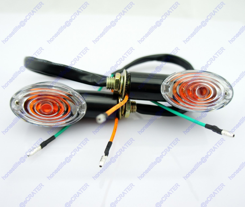 2x Motorcycle Oval Turn Signal Light Indicator Blinker Bulb Mini Amber Black