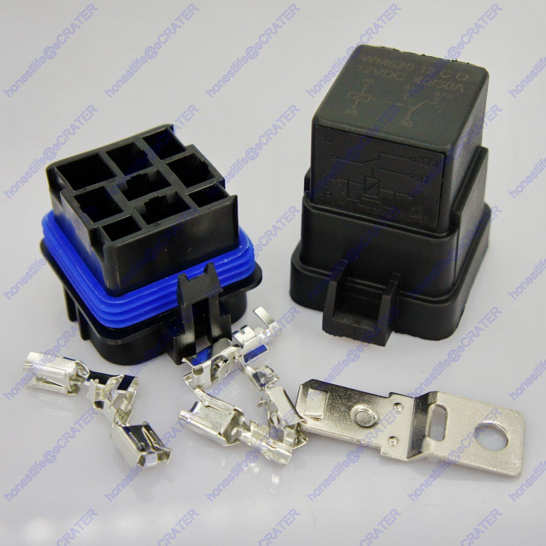 12V 40A 5-Pin Waterproof Sealed Integrated SPDT Relay Kit Socket Car SUV RV Boat