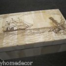 Nice 18th C Antique Style Folk Art Mermaid Scrimshaw Bone & Wood Trinket Box