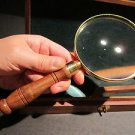 19th C Antique Style Wood Box Brass Turned Magnifying Glass Hand Lens Desktop