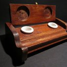 18th 19th C Antique Style Wood Writing Double Inkwell Box Ink Pot Porcelain