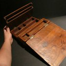 Antique Vintage Style Folding Document Writing Wood Lap Desk Box Scribe