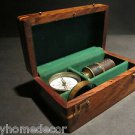 19th C Antique Vintage Style Magnifying Glass Compass Telescope Wood Box Kit