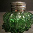 Vintage 19th C Antique Style Round Solid Green Thick Glass Inkwell Ink pot
