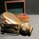 Antique Style Solid Brass Traveling Telescope Binoculars Monocular Wood Box Set