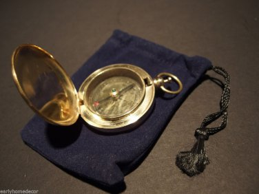 Antique Style Solid Brass Pocket Compass flip lid Signal mirror with bag
