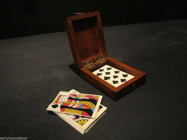 Antique Style Pluribus Unim Eagle Wood Playing Card Box American Rev War