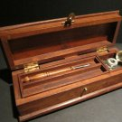 Antique Vintage Style Wood Inkwell Writing Box Pen Desk Set w Inkwell & Pen