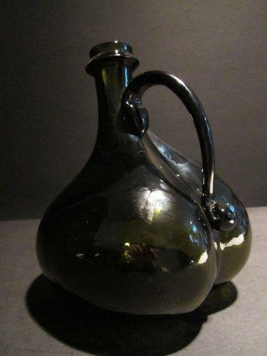 Antique Vintage Style Blown Black Glass Green Bell Onion Bottle Pontil w Handle