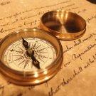 "Vintage Antique Style 2 1/4"" Screw Top Brass Heavy Maritime Navigational Compass"