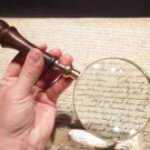 "4"" 5x Antique Style Magnifying Glass Brass w Wood Turned Hand Lens"