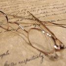 Antique Style, Small Reading Eyeglasses +100 w Sliding Bow Gold Brass Rev War