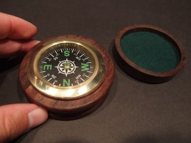 "Antique Style 3"" Solid Wood Brass Pocket Navigational Compass"