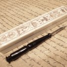 Antique Style Folk Art Americana Scrimshaw Bone & Wood Pen Box w Horn Dip Pen