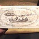 Nice Antique Style Folk Art  Whale Hunting Harpoon Bone & Wood Trinket Box
