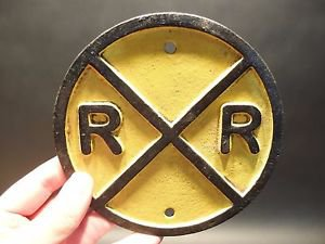 Antique Vintage Style Cast Iron RR Rail Road Crossing Sign