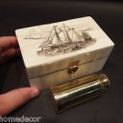 Vintage Antique Style Sail Ship Etched Bone & Wood Trinket Box w Telescope