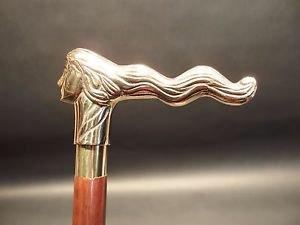 Vintage Antique Style, Brass Lady Head Wood Victorian Walking Stick Cane