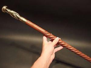 Vintage Antique Style, Brass Hand Spiral Wood Victorian Walking Stick Cane