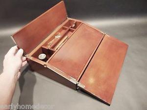 Antique Vintage Style Folding Mahogany Writing Slope Lap Desk Campaign Box KIT