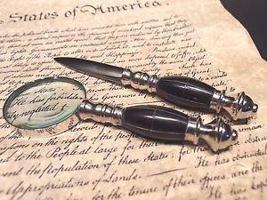 Antique Vintage Style Desk Magnifying Glass Letter Opener Set w Horn Handles