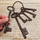 Antique Vintage Style Cast Iron Large Key ring of 6 keys