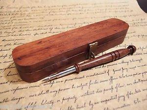 Vintage Antique Style Turned Wood Calligraphy Pen w Box set