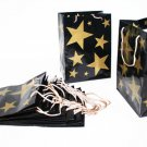 "Set of 12 Gold Stars Gift Bags with gold toned cord handles 8 x 11"" - 6078dz"