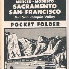 1954 GREYHOUND POCKET BUS SCHEDULE, L.A. to S.F.