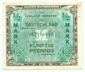 WW II Allied Military Currency - GERMANY - Half Mark - 1/2 Mark - ECA104