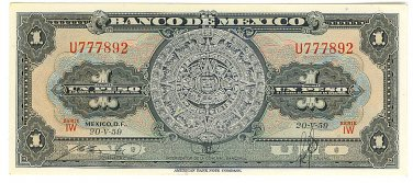 Banco de Mexico 1 Peso - 1959 Uncirculated - ED302