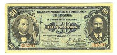 50 CENTAVOS Banknote MEXICO REVOLUTION 1915 - ED304