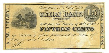 1862 15 cent Merchant's Scrip - Civil War Era - A. M. Utley - Watertown, New York - ED314