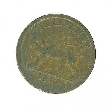 1813 British Half Penny Token with Lion on Reverse - ED603
