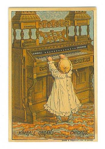 Kimball Organs Trade Card - Chicago, IL - Little Girl at Huge Organ - EG102