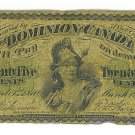 1870 Dominion of Canada 25 Cents Shinplaster Fractional Bank Note