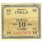 WW II Allied Military Currency - ITALY - 10 Lire